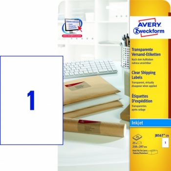 Прозрачные адресные этикетки Avery Zweckform [J8567-25] для струйных принтеров (210x297 мм, 25 шт, 25 листов)