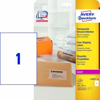 Прозрачные адресные этикетки Avery Zweckform [L7567-25] для цветных лазерных принтеров (210x297 мм, 25 шт, 25 листов)