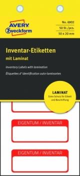 Самоламинирующиеся инвентарные этикетки Avery Zweckform [6902] (белые с красной рамкой, 50х20 мм, 50 шт/уп)