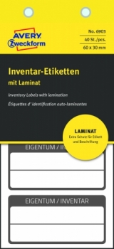 Самоламинирующиеся инвентарные этикетки Avery Zweckform [6903] (белые с черной рамкой, 60х30 мм, 40 шт/уп)