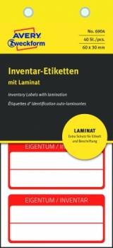 Самоламинирующиеся инвентарные этикетки Avery Zweckform [6904] (белые с красной рамкой 60х30 мм, 40 шт/уп)