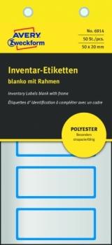 Полиэстерные инвентарные этикетки Avery Zweckform [6914] (серебристые с голубой рамкой, 50х20 мм, 50 шт/уп)
