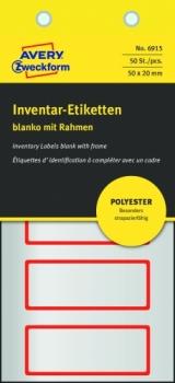 Полиэстерные инвентарные этикетки Avery Zweckform [6915] (серебристые с красной рамкой, 50х20 мм, 50 шт/уп)