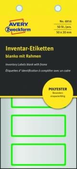 Полиэстерные инвентарные этикетки Avery Zweckform [6916] (серебристые с зеленой рамкой, 50х20 мм, 50 шт/уп)