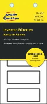Неотклеивающиеся инвентарные этикетки Avery Zweckform NoPeel [6919] (белые с черной рамкой, 50х20 мм, 50 шт/уп)