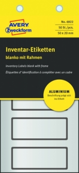 Алюминиевые инвентарные этикетки Avery Zweckform [6922] (серебристые с черной рамкой, 50х20 мм, 50 шт/уп)