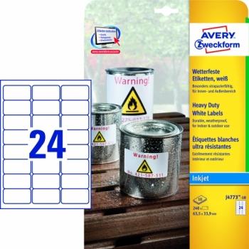 Всепогодные пленочные этикетки Avery Zweckform [J4773-10] для струйных принтеров (63.5х42.3 мм, 240 шт, 10 листов)
