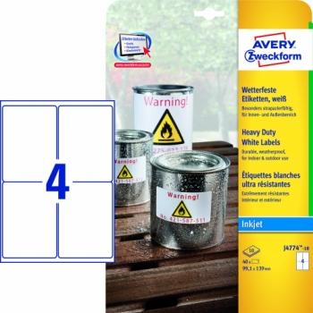 Всепогодные пленочные этикетки Avery Zweckform [J4774-10] для струйных принтеров (99.1х139 мм, 40 шт, 10 листов)