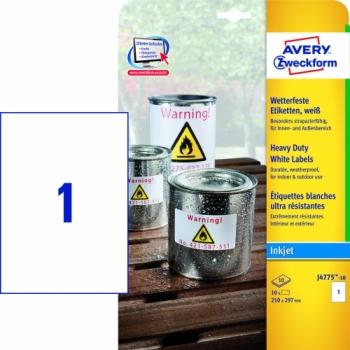 Всепогодные пленочные этикетки Avery Zweckform [J4775-10] для струйных принтеров (210х297 мм, 10 шт, 10 листов)