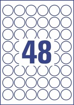 Всепогодные пленочные удаляемые этикетки Avery Zweckform [L4716REV-20] (Ø30 мм, 960 шт, 20 листов)