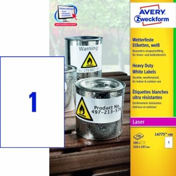 Всепогодные пленочные этикетки Avery Zweckform [L4775-100] (210x297 мм, 100 шт, 100 листов)