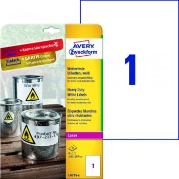 Всепогодные пленочные этикетки Avery Zweckform [L4775-8] (210x297 мм, 8 шт, 8 листов)
