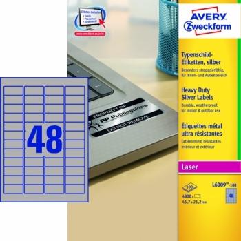 Серебристые полиэстерные этикетки Avery Zweckform [L6009-100] (45.7x21.2 мм, 4800 шт, 100 листов)