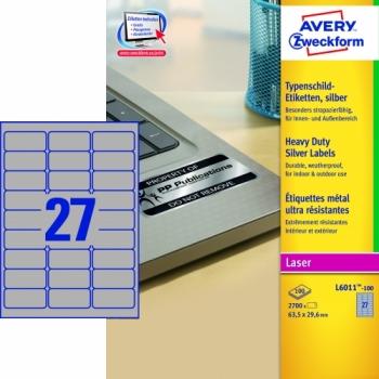 Серебристые полиэстерные этикетки Avery Zweckform [L6011-100] (63.5x29.6 мм, 2700 шт, 100 листов)