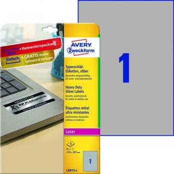 Серебристые полиэстерные этикетки Avery Zweckform [L6013-8] (210x297 мм, 8 шт, 8 листов)