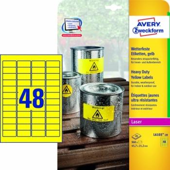 Всепогодные пленочные этикетки Avery Zweckform [L6103-20] (желтые, 45.7x21.2 мм, 960 шт, 20 листов)