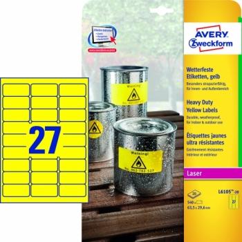 Всепогодные пленочные этикетки Avery Zweckform [L6105-20] (желтые, 63.5x29.6 мм, 540 шт, 20 листов)