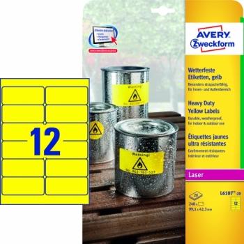 Всепогодные пленочные этикетки Avery Zweckform [L6107-20] (желтые, 99.1x42.3 мм, 240 шт, 20 листов)