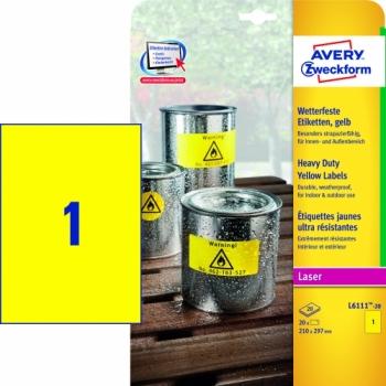 Всепогодные пленочные этикетки Avery Zweckform [L6111-20] (желтые, 210x297 мм, 20 шт, 20 листов)