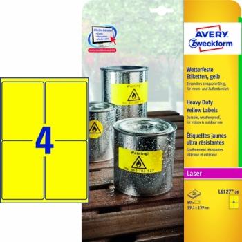 Всепогодные пленочные этикетки Avery Zweckform [L6127-20] (желтые, 99.1x139 мм, 80 шт, 20 листов)