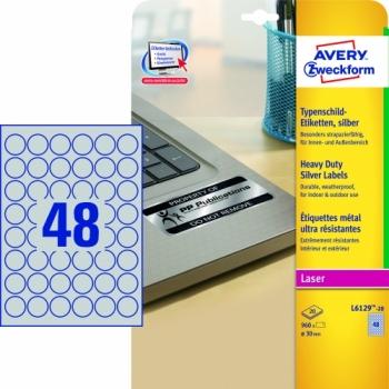 Серебристые полиэстерные этикетки Avery Zweckform [L6129-20] (Ø30 мм, 960 шт, 20 листов)