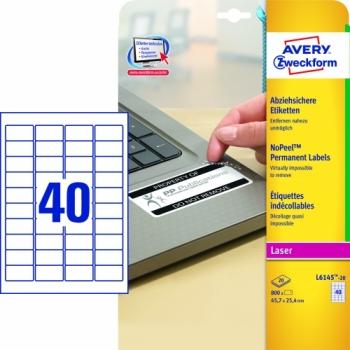 Экстра-безопасные неотклеивающиеся этикетки Avery Zweckform [L6145-20] (45.7x25.4 мм, 800 шт, 20 листов)