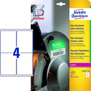Суперпрочные пленочные этикетки Avery Zweckform [L7915-10] (99.1х139 мм, 40 шт, 10 листов)