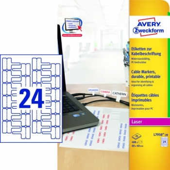 Этикетки Avery Zweckform [L7950-20] для проводов для лазерных принтеров (60x40 мм, 480 шт, 20 листов)