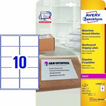 Всепогодные адресные этикетки Avery Zweckform [L7992-25] (99.1x57 мм, 250 шт, 25 листов)