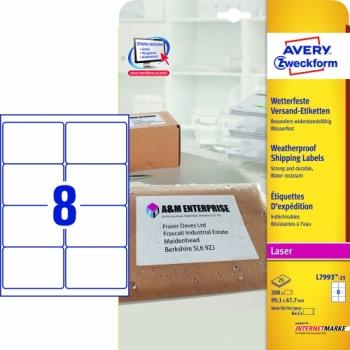 Всепогодные адресные этикетки Avery Zweckform [L7993-25] (99.1x67.7 мм, 200 шт, 25 листов)