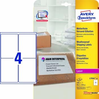 Всепогодные адресные этикетки Avery Zweckform [L7994-25] (99.1x139 мм, 100 шт, 25 листов)